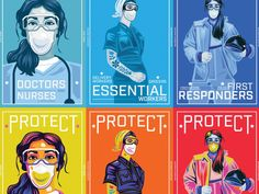 Protect Essential Workers Series designed by Doodling_Rose. World Humanitarian Day, Current Events News, Hospice Nurse, Flower Iphone Wallpaper, Retirement Quotes, Sports Celebrities, Doodle Ideas, Firefighting, Manga Drawing