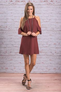 """""""Let's Make A Deal Dress, Wine"""" This dress is gorgeous! We love the trendy cold shoulder cut paired with the classic straight fit!  #newarrivals #shopthemint"""