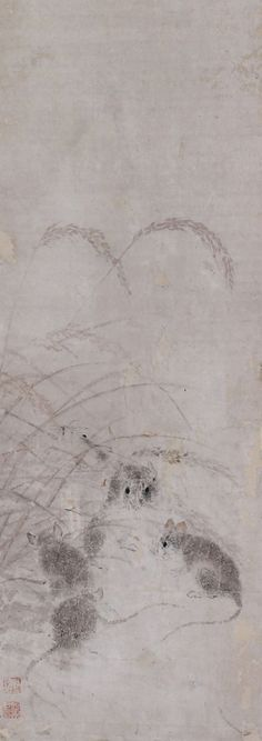 Mice. Japanese hanging scroll painting.