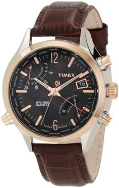 Timex Men's T2N942DH Intelligent Quartz World Time Watch Timex. $99.57. Water-resistant to 100 M (330 feet). Mineral glass crystal. Indiglo night-light. Time display capability for 24 major cities. Stainless steel case with rose goldtone accents