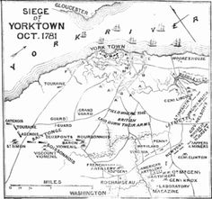 A map of key sites in the Battle of Yorktown