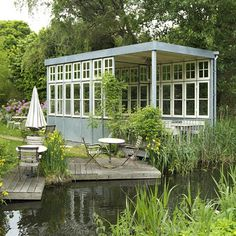 Shed overlooking pond