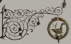 Sign of the white goose - 18th century wrought iron