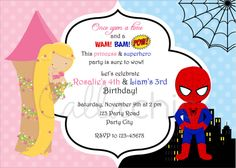 Twin / joint birthday party invitation for your boy/girl in Rapunzel (Disney Princess inspired) and Spiderman (Superhero) theme. You will receive a PERSONALIZED 5 x 7 printable invitation in ONE of the following format: * JPEG (default) - for printing at photo lab or to send via emails * ...
