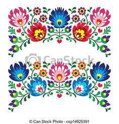 Polish floral folk pattern - csp14625391