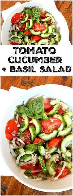 Easy Tomato, Cucumber and Basil Salad recipe : the perfect summer salad recipe!