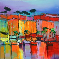 French Art Network   Lepape, Eric Beautiful Paintings, Seascape Paintings, Landscape Paintings, Art Pictures, Art Images, Mediterranean Paintings, Andy Warhol, Coastal Art, Abstract Art