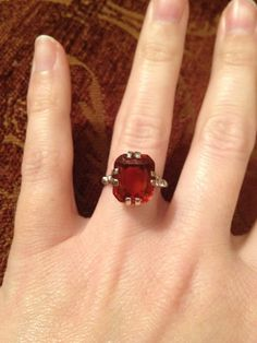 Vintage Red Garnet White Gold Engagement Ring  Large by AdairRose, $315.00