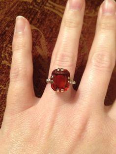 Vintage Red Garnet White Gold Engagement Ring  Large by AdairRose, $315.00