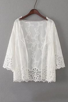 Women's Fashion 3/4 Sleeve Lace Hollow Out Open Front Kimono Coat