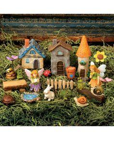 Set of 20 Garden Fairy Village