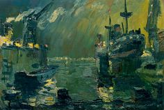 Dock at night painting