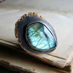 Labradorite ring metalwork oxidized sterling silver by noblegnome, $118.00