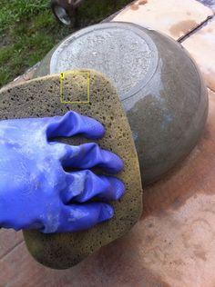 Outdoor homemade concrete bowls