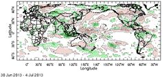 Pentad OLR Anomaly:  This map shows pentad (5-day average) outgoing longwave radiation anomalies for the globe.