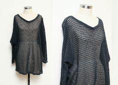 90s mesh top // slouchy club kid knit top // by GINGERANDJUDY