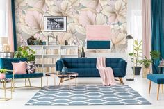Quiz: Which Décor Style Will Make You Feel Right at Home? glam teal and pink living room with blue velvet couch Blue And Pink Living Room, Teal Living Rooms, Living Room Interior, Living Room Designs, Living Room Furniture, Blue Couch Living Room, Teal Home Office Furniture, Furniture Sets, Pastel Living Room