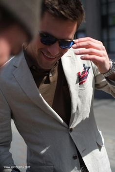 Polo shirts can work with your sport jacket too. Accessorize with a hankie for that added touch. #mensfashion #menswear #menstyle #TRGent
