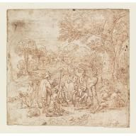 Peasants Listening to Itinerant Musicians on a Tree-lined Road, Giovanni Andrea Coppola, ca. 1665