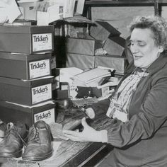 An archive photo taken in the Tricker's factory around Tricker's is the longest established shoemaker in England, founded in Trickers Shoes, Sons, Archive, England, My Son, Boys, United Kingdom