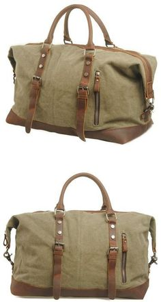 """#travel #Duffle #gym Bag Main Material: Quality canvas duffle accented with genuineleather. Size: L: 18"""" W:8"""" H:10"""" Interior: Two pouch pockets for smaller devices on the front and on"""