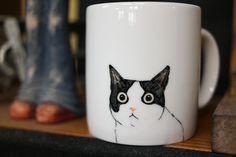 Hand painted animal mug cup  Cute  mug cup by CreativeStoneCera, $21.00