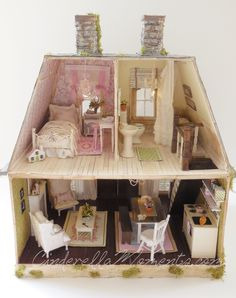 A dash of Whimsy for your home! Cottage and shabby chic styles mingle to create a truly romantic look! handmade and original! In a world full of mass production, hand made is the one true luxury. Pink Dollhouse, Victorian Dollhouse, Dollhouse Miniatures, Popsicle Stick Crafts, Craft Stick Crafts, Diy And Crafts, Popsicle Sticks, Miniature Houses, Miniature Dolls