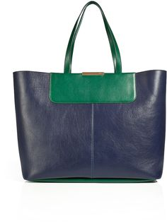 Emilio Pucci #Leather #Tote in #Green #Blue