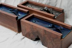 www.collinsandson.co Three wooden boxes. Walnut and forged steel.