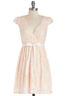 Poised in Peach Dress, #ModCloth - another peach gown, and with a cute bow, too!