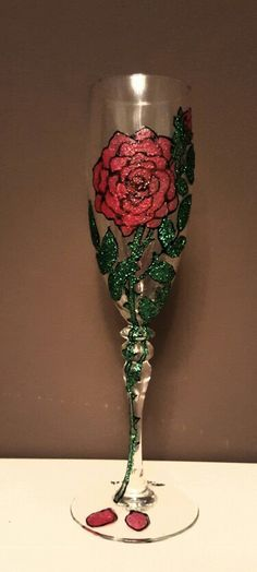 Rose glitter glass