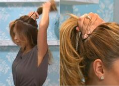 Try a ponytail with two hair ties. Start by pulling the back half of your hair into a high ponytail using one tie. Then, pull the rest of your hair into a larger ponytail around the first.