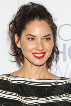 Olivia Munn knows the key to bright lips is glowing skin.