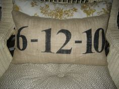 Special Date Lumbar Pillow In Tan Burlap and Black - Available in Other Colors. $28.00, via Etsy.