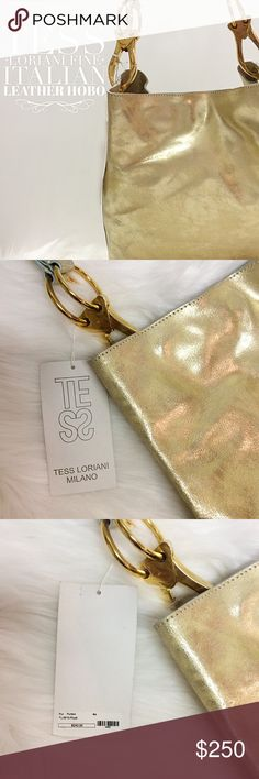 Gold Metallic Leather Hobo New!  Perfect for Spring & Summer.  Very durable.  Beautiful gold hardware.  I have one & it is definitely a fav! Tess Loriani Milano Bags Hobos