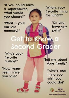 Get to know a second grader. #weareteachers