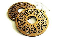 Boho hippie wooden hoop earrings. Handcrafted jewellery. Boho vibes. Hippie style fashion.