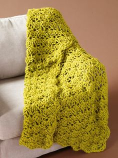 Our Speed Hook Shell Afghan works up in no time and it will help keep you warm while you work!