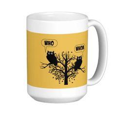 Who Whom Grammar Humor Owls Classic White Coffee Mug