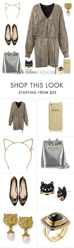 """Feline Fashion"" by yours-styling-best-friend ❤ liked on Polyvore featuring Balmain, Kate Spade, Tasha, Charlotte Olympia, Betsey Johnson and Moritz Glik"