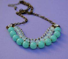 Triple Strand Chunky Turquoise Aqua Necklace  by SeaSaltShop, $24.00 Ready to ship for Valentines Day!
