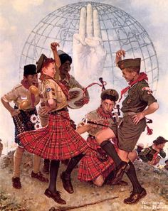 If this doesn't count that's okay, but this Normal Rockwell portrait of kilts is adorable!