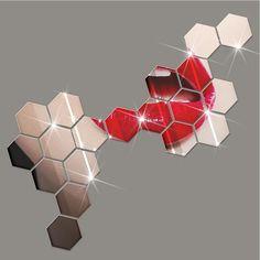 12Pcs DIY 3D Hexagon Art Acrylic Mirror Wall Sticker Decal Home Room Decor Removable Style Decoration