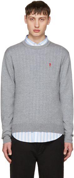 AMI  ALEXANDRE MATTIUSSI Grey 'Ami De Coeur' Sweater. #amialexandremattiussi #cloth #sweater