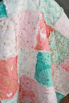Crib Rag Quilt Baby Girl Crib Bedding Woodland Nursery Gold Coral Peach Aqua Teal Nursery by justluved on Etsy https://www.etsy.com/listing/212601893/crib-rag-quilt-baby-girl-crib-bedding