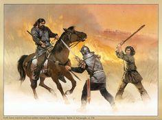 Angus McBride - Soldados godos contra un legionario romano en la batalla de Adrianópolis, c. 378 dC.