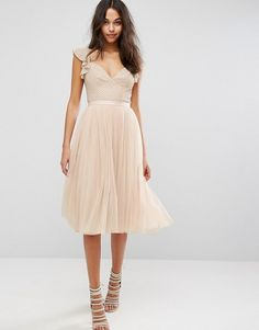 Needle & Thread Swan Tulle Midi Dress With Frill Sleeve | Occasion Skater Dress