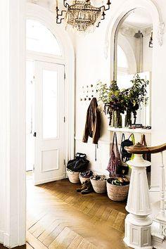 Floors, banister, door way