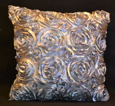 Decorative throw pillow cover.  Silver metallic rose scroll design fabric. on Etsy, $29.99