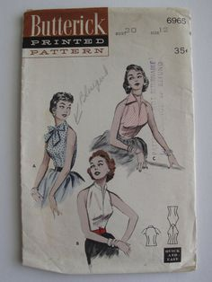 Butterick 6965 Vintage 1950's Sewing Pattern: Sleeveless Blouse with Pussy Bow and Collared Variations